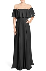 Monique Lhuillier Bridesmaids Women's Off The Shoulder Chiffon Gown Black