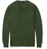 Alfred Dunhill Cashmere V Neck Sweater Green