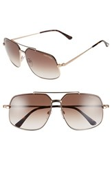 Women's Tom Ford 'Ronnie' 60Mm Aviator Sunglasses Shiny Brown Gradient Brown Regular Retail Price 405.00