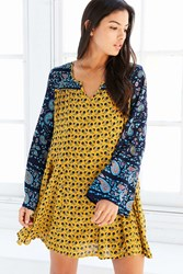 Patrons Of Peace Print Mix Bell Sleeve Mini Dress Yellow