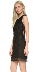 Jonathan Simkhai Distressed Fringe Shift Dress Black