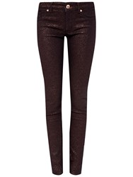 Ted Baker Migle Glitter Jacquard Skinny Jeans Brick Red