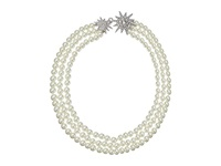 Kenneth Jay Lane 3 Row Cultura Pearl With Rhodium And Rhinestone Starburst Clasp Necklace Pearl Necklace White