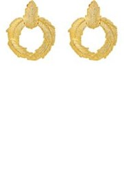 Stazia Loren Women's Feather Hoop Earrings Gold