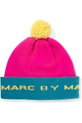 Marc By Marc Jacobs Color Block Merino Wool Beanie Pink