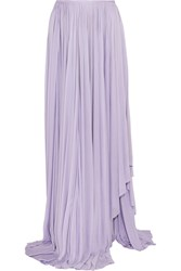 Vionnet Draped Satin Jersey Maxi Skirt Purple