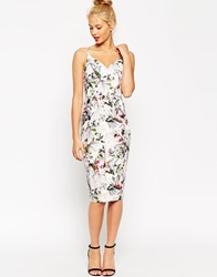 Asos Hitchcock Pencil Dress In Dusty Pink Floral Dustypink