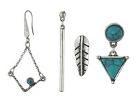 Steve Madden Turquoise Halo Bar Dangling Triangle Feather Chain Tassel And Diamond Shaped Post Earrings Set Silver Earring