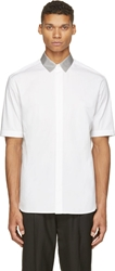 3.1 Phillip Lim White And Grey Contrast Collar Short Sleeve Shirt