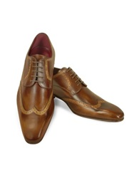 Fratelli Borgioli Handmade Light Brown Italian Leather Wingtip Dress Shoes