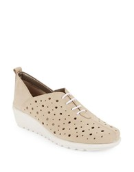 The Flexx Run Crazy To Leather Wedge Sneakers Beige