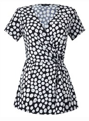 Grace Made In Britain Polka Twist Knot Top Black
