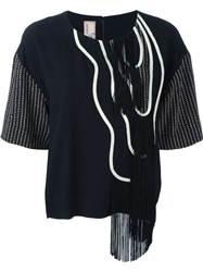 Antonio Marras Fringed Patterned Top Black