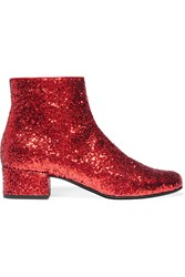 Saint Laurent Babies Glittered Leather Ankle Boots