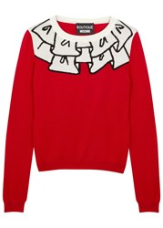 Boutique Moschino Red Ruffle Intarsia Wool Jumper