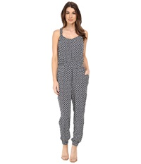 Vince Camuto Sleeveless Rabat Flower Racerback Jumpsuit Evening Navy Women's Jumpsuit And Rompers One Piece Gray