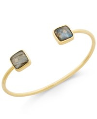 Paul And Pitu Naturally 14K Gold Plated Labradorite Open Cuff Bracelet Multi
