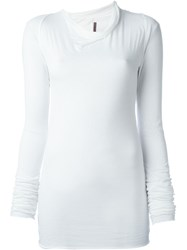 Rick Owens Lilies Cowl Neck Longsleeved T Shirt White