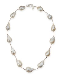 Large Baroque Pearl Necklace 20'L Margo Morrison White