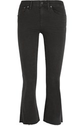 Madewell Frayed Cropped Mid Rise Bootcut Jeans Black