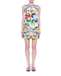 Dolce And Gabbana Sleeveless Maiolica Floral Print Shift Dress Maiolica Fdo.Bian