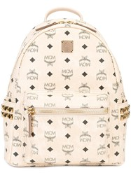 Mcm Logo Print Backpack Nude And Neutrals