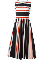 Dolce And Gabbana Striped Open Back Dress White