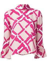 Derek Lam Printed Frill Sleeve Blouse Pink And Purple