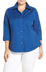 Foxcroft Plus Size Women's Shaped Johnny Collar Shirt True Blue