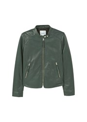Mango Zip Leather Jacket Green