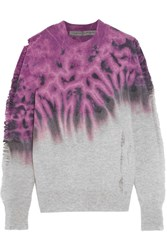 Raquel Allegra Distressed Tie Dyed Merino Wool And Cashmere Blend Sweater Magenta