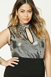 Forever 21 Plus Size Sequin Crop Top Silver Black