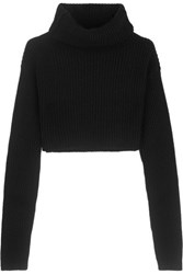 Valentino Cropped Wool And Cashmere Blend Turtleneck Sweater Black
