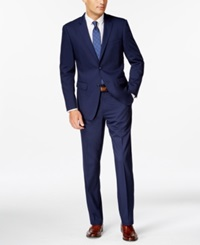 Perry Ellis Blue Twill Slim Fit Suit Navysldtwl