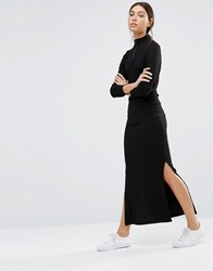 Pieces Pica Ribbed Maxi Skirt Black