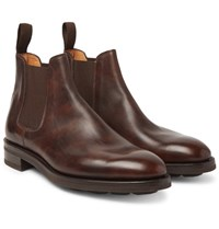 John Lobb Lawry Water Resistant Burnished Leather Chelsea Boots Dark Brown