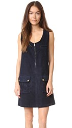 Frame Corduroy Zip Dress Deep Blue Dive