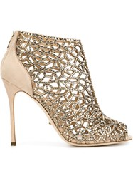 Sergio Rossi Caged Rhinestone Open Toe Booties