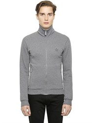 Dolce And Gabbana High Collar Zip Up Cotton Sweatshirt
