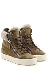 Giuseppe Zanotti Suede Shearling High Top Sneakers Green