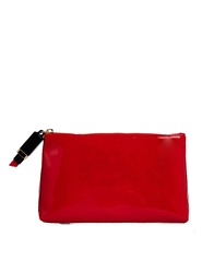 Lulu Guinness Patent T Seam Make Up Bag With Lipstick Zip Red
