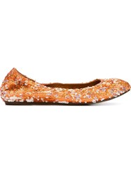 Lanvin Sequin Ballerinas Yellow And Orange
