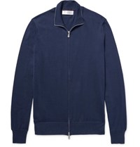Brunello Cucinelli Contrast Tipped Cotton Zip Up Cardigan Storm Blue