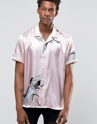 Asos Shirt With Stork Print In Silk Feel Dusty Pink
