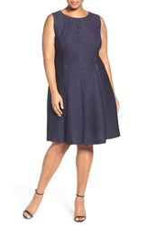 London Times Plus Size Women's Lace Inset Sleeveless Fit And Flare Dress Navy