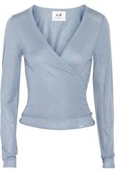 Banjo And Matilda Ballet Silk And Cashmere Blend Wrap Cardigan Blue