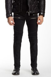 Ron Tomson Faux Leather Trim Zip Moto Slim Fit Jean Black