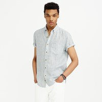 J.Crew Short Sleeve Shirt In Ticking Striped Irish Linen