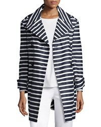 Red Valentino Striped Cotton Trenchcoat Blue Women's