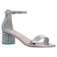Carvela Groove Perspex Crystal Detail Mid Block Heel Sandals Blue